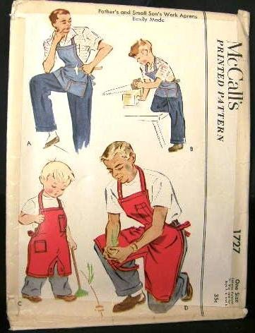 Vintage 1950's McCalls Sewing Pattern 1727 Mens & Small Boys Gardner Cobbler Work Bib Apron CUT