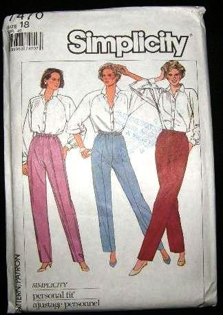 Vintage 1980's Simplicity Sewing Stretch Knit Pattern 7470 Elastic Waist Pants Plus Size 18 CUT