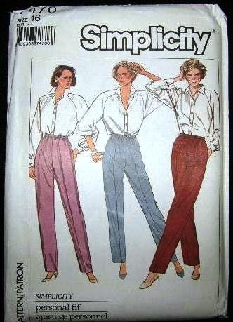 Vintage 1980's Simplicity Sewing Stretch Knit Pattern 7470 Elastic Waist Pants Size 16 CUT