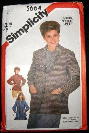 Vintage 1980's Simplicity Sewing Pattern 5664 Womans Jacket 3 Styles Size 16 CUT