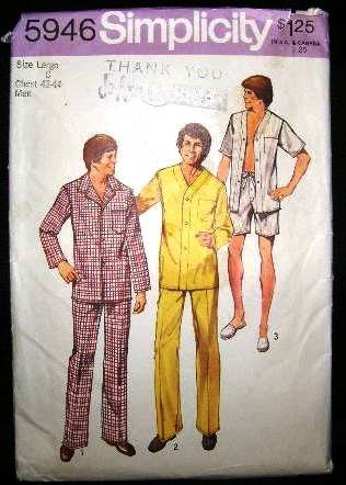 Vintage 70's Simplicity Sewing Pattern 5946 Mens PJs Pajamas and Night Shirt Size Large 42 - 44 CUT