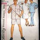 Vintage 1960's Simplicity Sewing Pattern 5039 Mens PJs Pajamas and Night Shirt Size Large 42-44 CUT