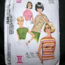 Vintage 1960's McCalls Easy Sewing Pattern 7640 Short or Cap Sleeve Blouse Size 12 - 14 UNCUT