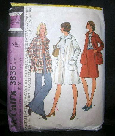 Vintage 1970's McCalls Sewing Pattern 3836 Coat Jacket Size 10 UNCUT