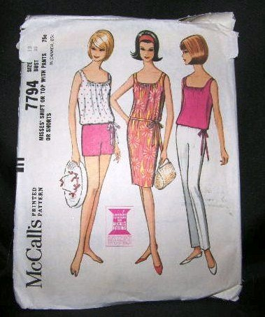 Vintage 60's McCalls Sewing Pattern 7794 Sleeveless Dress Blouse Top Shorts Pants Size 12 UNCUT