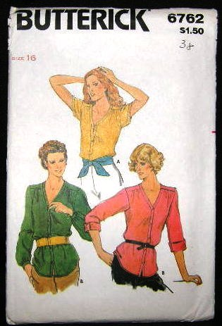 Vintage 1970's Butterick Sewing Pattern 6762 Blouse Size 16 UNCUT