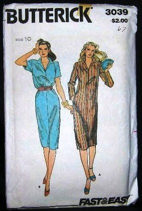 Vintage 1960's Butterick Long or Short Sleeve Shirt Dress Sewing Pattern 3039 Size 10 UNCUT