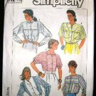 Vintage 1980's Simplicity Sewing Pattern 7560 Blouse 5 Styles Size U 16 - 20 UNCUT