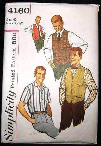 Vintage 1960's Simplicity Mens Sewing Pattern 4160 Shirt Vest Size 40 UNCUT