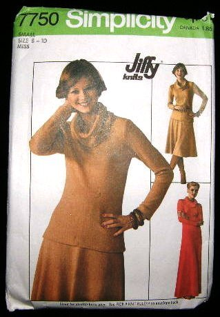 Vintage 1970's Simplicity Stretch Knit Sewing Pattern 7750 Dress Top Skirt Size Small 8 - 10 CUT