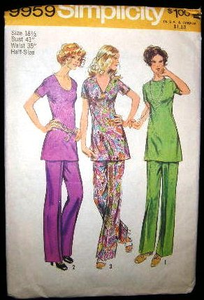 Vintage 1970's Simplicity Sewing Pattern 9959 Tunic Pants Plus Size 18 1/2 CUT