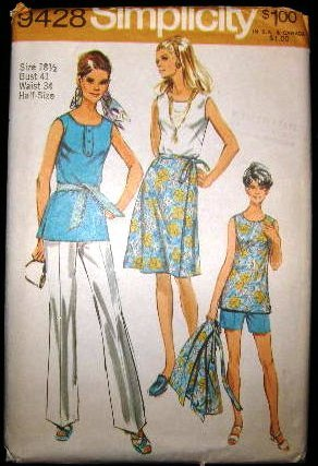 Vintage 1970's Simplicity Sewing Pattern 9428 Tunic Shorts Pants Wrap Skirt Plus Size 18 1/2 CUT