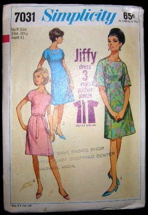 Vintage 1960's Simplicity Jiffy Sewing Pattern 7031 Dress Plus Size 20 1/2 CUT