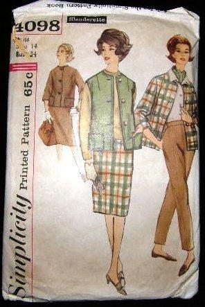 Vintage 1960's Simplicity Slenderette Sewing Pattern 4098 Jacket Pants Skirt Size 14 CUT