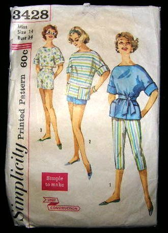 Vintage 1960's Simplicity Sewing Pattern 3428 Top Blouse Pants Shorts Size 14 CUT