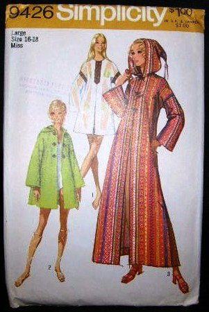 Vintage Hippie 1970's Simplicity Sewing Pattern 9426 Long or Short Caftan Robe Large 16 - 18 UNCUT