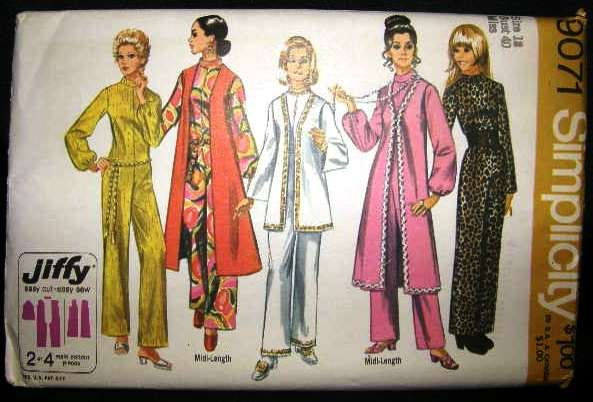 Vintage 1970's Simplicity Jiffy Sewing Pattern 9071 Jumpsuit Jacket and Vest Plus Size 18 UNCUT