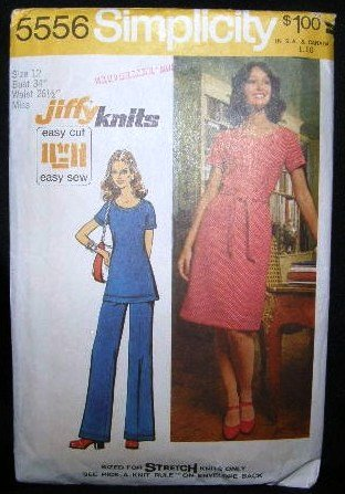 Vintage 1970's Simplicity Jiffy Knits Pattern 5556 Dress Tunic Pants Size 12 UNCUT