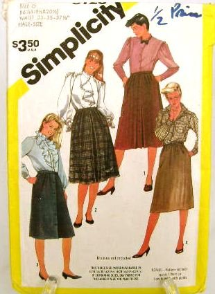 Vintage 1980's Simplicity Sewing Pattern 6128 Skirt Plus Size 16 1/2 thru 20 1/2 UNCUT