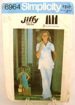 Vintage 1970's Simplicity Sewing Pattern 6964 Uniform Zip Front Dress Top Pants Size 16 UNCUT