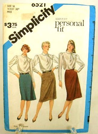 Vintage 1980's Simplicity Sewing Pattern 6521 Personal Fit Skirt Size 16 UNCUT
