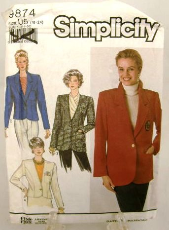 1990's Simplicity Sewing Pattern 9874 Short or Long Jacket Plus Size 16 - 24 UNCUT