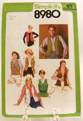 Vintage 1970's Simplicity Sewing Pattern 8980 Vest 5 Styles Size 14 UNCUT