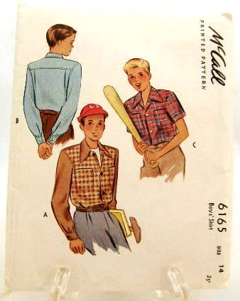 Vintage 1940's McCall Sewing Pattern 6165 Boys Shirt Size 14 UNCUT