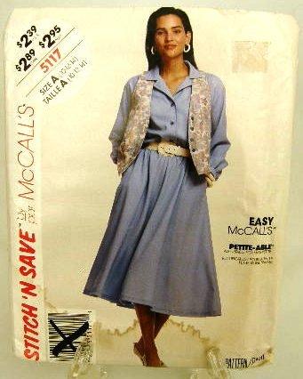 1990's McCalls Easy Sewing Pattern 5117 Dress Vest Size A 10 12 14 UNCUT