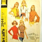 Vintage 1970's McCalls Easy Sewing Pattern 2944 Blouse 5 Styles Junior Teen Size 9 - 10 UNCUT