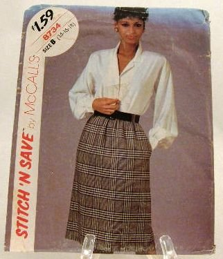 Vintage 1980's McCalls Easy Sewing Pattern 8734 Blouse Skirt Size B, 14 16 18 UNCUT