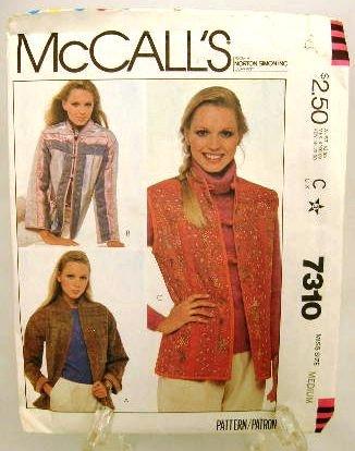 Vintage 1980's McCalls Sewing Pattern 7310 Jacket Vest Size Medium 14 - 16 UNCUT