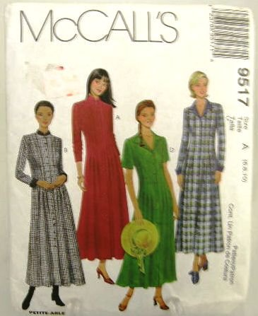90's McCalls 9517 Sewing Pattern Button Front Long or Short Sleeve Dress 4 Styles Size 6 8 10 UNCUT