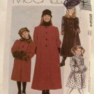 1990's McCalls Sewing Pattern 9594 Girls Coat Hat Muff Headband Size CJ, 10, 12, 14 UNCUT