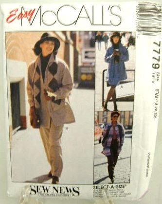 1990's McCalls Easy Sewing Pattern 7779 Jacket Skirt Pants Plus Size FW 18 20 22 UNCUT