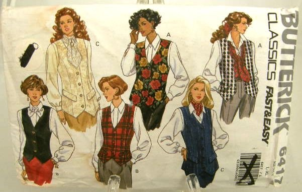 Vintage 1990's Butterick Sewing Pattern 6417 Fast & Easy Vest 3 Styles Size Large - X Large UNCUT