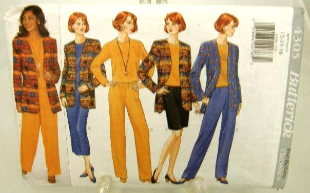 Vintage 1990's Butterick Sewing Pattern 4305 Jacket Top Skirt Pants Size 12 14 16 UNCUT