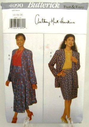 Vintage 1990's Butterick Sewing Pattern 4090 Jacket Top Skirt Size 14 16 18 Petite UNCUT