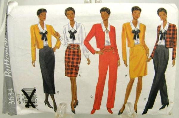 Vintage 1990's Butterick Sewing Pattern 3634 Jacket Blouse Skirt Pants Size 12 14 16 UNCUT