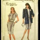 1980's Vintage Simplicity Easy to Sew Sewing Pattern 9045 Dress Jacket Size 16 CUT