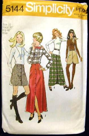 1970's Vintage Simplicity Sewing Pattern 5144 Front Button Zip Long Short Skirt Size 16 CUT