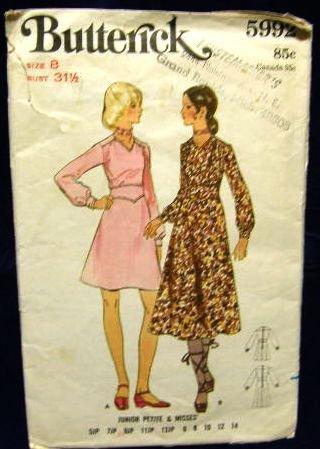 1970's Butterick Sewing Pattern 5992 Long Sleeve Dress in 2 styles Size 8 CUT