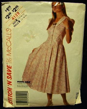 1980's Vintage McCalls Sewing Pattern 4152 Petite Button Front Dress Size B 12 - 14 - 16 CUT