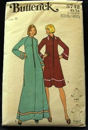 Size 12 Vintage 1970's Butterick Sewing Pattern 5742 Zip Front Long or Short Housecoat Robe CUT