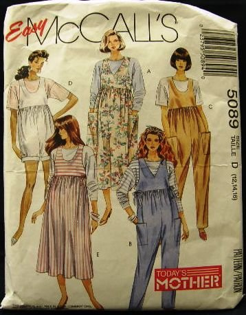 1990's Easy McCalls Maternity Sewing Pattern 5089 Jumper Jumpsuit Top Size 12 - 14 - 16 CUT