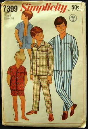 1960's Vintage Simplicity Sewing Pattern 7399 Boys Pajamas PJ' s 2 styles Size 6 CUT