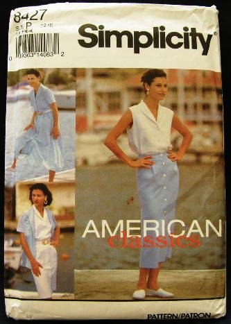 90's Simplicity Sewing Pattern 8427 Blouse Button Front Flared and Slim Skirt Size 12 - 16 CUT