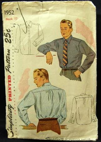 Vintage 40's Simplicity Sewing Pattern 1952 Mens Long Sleeve Dress Shirt Neck Size 17 CUT