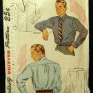 Vintage 40's Simplicity Sewing Pattern 1952 Mens Long Sleeve Dress Shirt Neck Size 17 CUT
