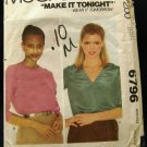 Vintage 1970's McCalls Sewing Pattern 6796 Round or V-Neck Shirt Top Size Medium 14 - 16 CUT